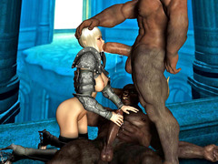picture #1 ::: Blonde cutie gets mouthfucked by minotaurs