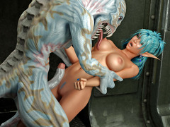 picture #2 ::: Blonde cutie gets mouthfucked by minotaurs