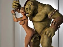 picture #2 ::: Busty hottie fucked hard by a fierce monster