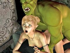 picture #3 ::: Busty hottie fucked hard by a fierce monster
