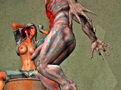 picture #4 ::: Busty hottie fucked hard by a fierce monster