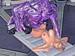 picture #3 ::: Busty hottie in boots enjoys a giant alien cock