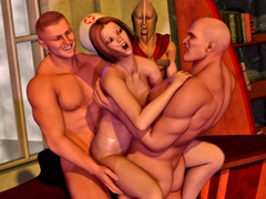 picture #10 ::: Cute brunette forced into a threesome with wild thugs