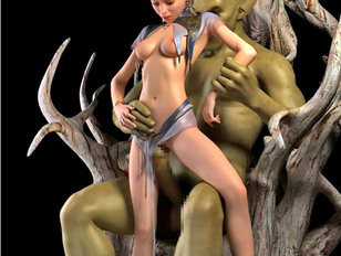 picture #2 ::: Awesome werewolf sex animation of a girl choking on hairy beast dong.