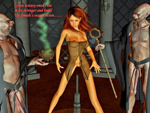 picture #6 ::: Sexy rape sex cartoon featuring poor girls molested by a demonic sex god.