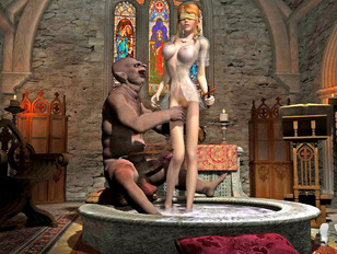 picture #1 ::: Blonde goddess watches her friend violated by a monster