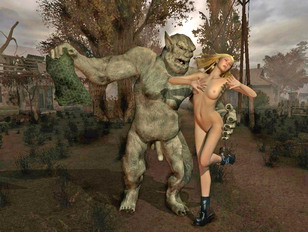 picture #1 ::: Kinky 3d fantasy gallery showing a horrible monster raping a poor defenseless girl.