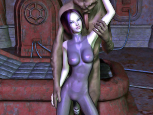 picture #4 ::: Kinky toon sex gallery showing tight babes fucked hard by a fearsome monster.