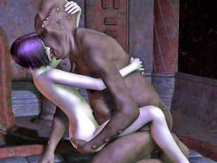 picture #6 ::: Bizarre world of porncraft pics showing cute elven maidens raped by savage trolls.