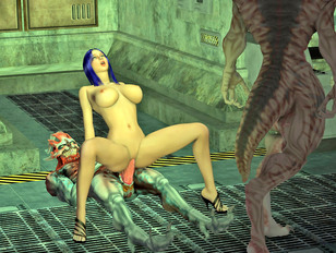 picture #4 ::: Sexy busty blue haired 3D cutie riding a big alien dick
