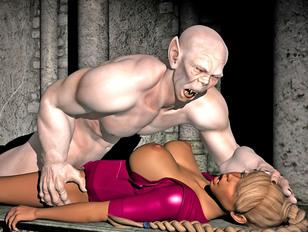 picture #2 ::: Sexy human slut loves choking on stiff minotaur cock.