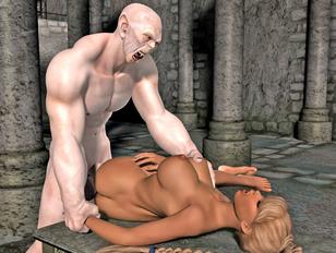 picture #4 ::: Sexy human slut loves choking on stiff minotaur cock.