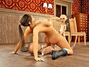 picture #6 ::: Bizarre animation porn showing a strong monster fuck a young slut.