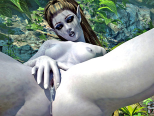 picture #10 ::: Ginger babe is in a sandwich between two hard alien cocks