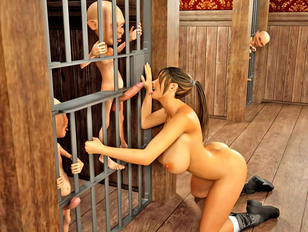 picture #3 ::: Lustful busty 3D prisoner girl getting fucked by aggressive little gnomes