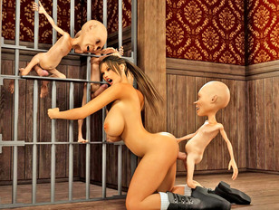 picture #6 ::: Lustful busty 3D prisoner girl getting fucked by aggressive little gnomes