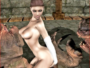 picture #7 ::: Insanely hot busty brunette girl getting double penetrated by huge monsters