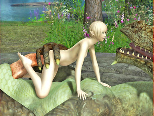 picture #9 ::: Ultra sexy 3D elf babe getting impaled on gigantic dragon dick