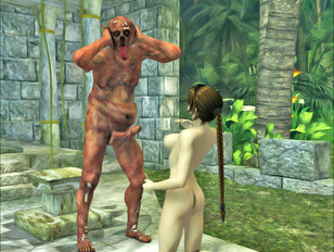 picture #5 ::: Perfectly shaped sweet chick giving deep throat to a rotting monster