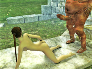 picture #7 ::: Perfectly shaped sweet chick giving deep throat to a rotting monster