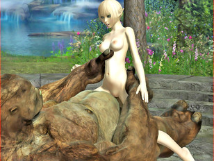 picture #6 ::: 3D blond elf hottie getting impaled on a huge troll cock