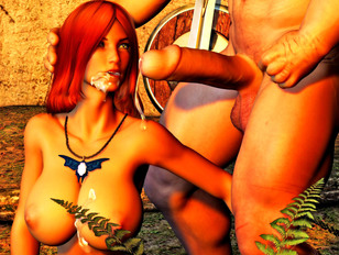 picture #12 ::: Cute dark elf babe loves it when her tits are covered in hot monster jizz.