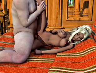 picture #6 ::: Cute dark elf babe loves it when her tits are covered in hot monster jizz.