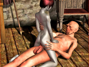 picture #1 ::: Young 3D elf girl riding dick and getting a cream pie