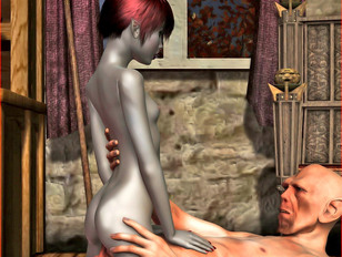 picture #2 ::: Young 3D elf girl riding dick and getting a cream pie