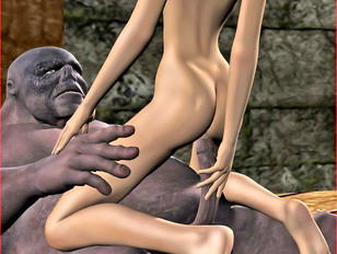 picture #9 ::: Dangerous sex play between a nasty bitch and scary monster