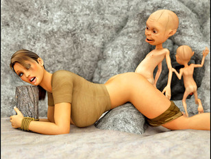 picture #5 ::: Wicked 3d porn pics showing a busty slut being tormented by little gnomes.