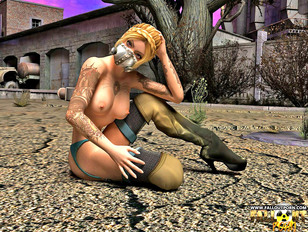 picture #6 ::: Dirty tattooed dark-haired slut has her cunt smashed by an alien cock
