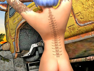 picture #4 ::: Sexy white haired 3d babe loves to spread her legs showing her shaved cunt.