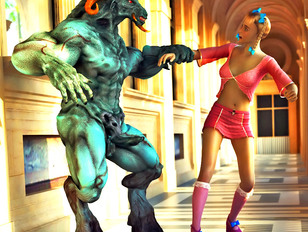 picture #1 ::: Huge ugly 3d demon rapes a poor unsuspecting human chick.