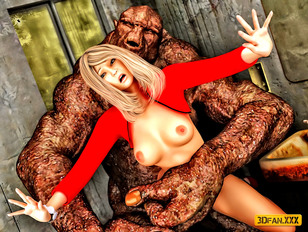picture #4 ::: Huge evil 3d ogre fucks a cute girl in her tight wet cunt.