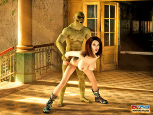 picture #1 ::: Busty soldier beautie enjoys the ride of the tattooed monster's cock