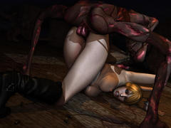 picture #4 ::: Scared big tit babe in 3d evil monster porn