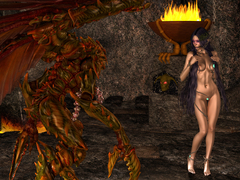 picture #1 ::: Naked brunette goddess dancing for daunting creature
