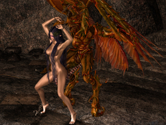 picture #2 ::: Naked brunette goddess dancing for daunting creature