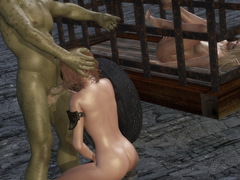picture #2 ::: Blonde slave servicing a huge green beast