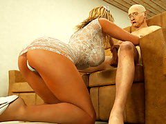 picture #6 ::: Blonde slave servicing a huge green beast