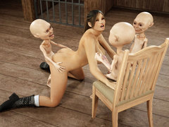 picture #3 ::: Three Golumn like creatures screwing hottie on the floor