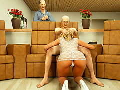 picture #4 ::: Two hot blondies blowing a monster with two dicks