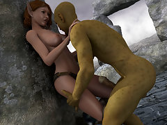 picture #1 ::: Cute 3d elf gets impaled on a massive orc dick.