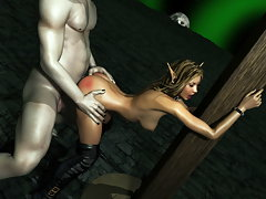 picture #3 ::: Cute 3d elf gets impaled on a massive orc dick.