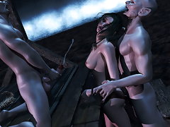 picture #2 ::: Delicious 3d slut gets banged by two horny vampires.