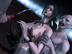 picture #3 ::: Delicious 3d slut gets banged by two horny vampires.