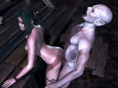 picture #4 ::: Delicious 3d slut gets banged by two horny vampires.