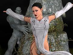picture #2 ::: Evil 3d monster rapes a delicious little slut's ass.