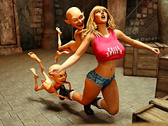 picture #1 ::: Line of goblins behind a hot ass of a blonde 3D teen